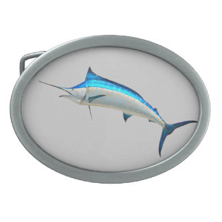 Great Blue Marlin Oval Belt Buckle