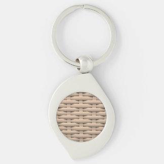great braided basket,beige Silver-Colored swirl metal keychain
