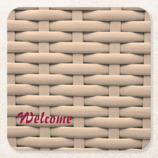 great braided basket,beige square paper coaster