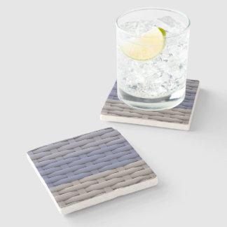 great braided basket, blue stripes stone beverage coaster