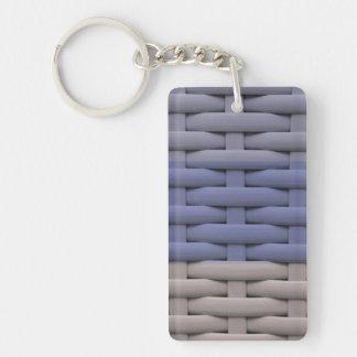 great braided basket, blue stripes Single-Sided rectangular acrylic keychain
