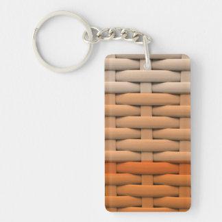 great braided basket,orange stripes Single-Sided rectangular acrylic keychain