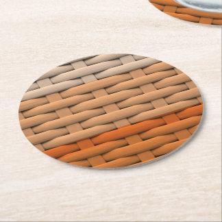 great braided basket,orange stripes round paper coaster