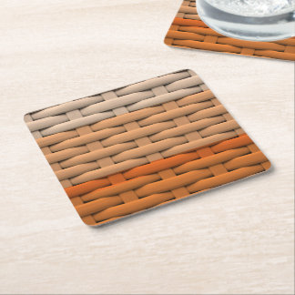 great braided basket,orange stripes square paper coaster