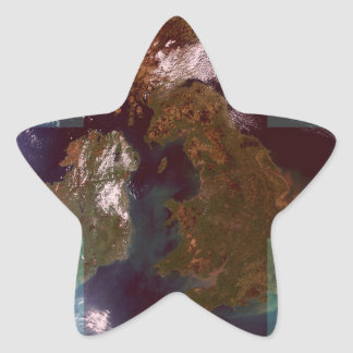 Great Bretain from Space and Flag. Star Sticker
