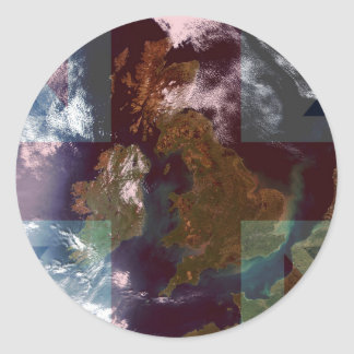 Great Bretain from Space and Flag. Round Sticker