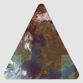 Great Bretain from Space and Flag. Triangle Stickers