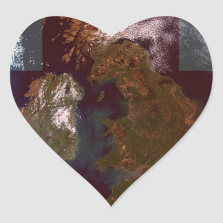 Great Bretain from Space and Flag. Heart Sticker