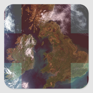 Great Bretain from Space and Flag. Square Stickers