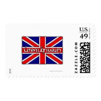 'Great Britain' ambigram on a British flag Stamp