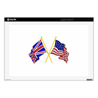 GREAT BRITAIN AND AMERICAN FLAGS DECALS FOR LAPTOPS