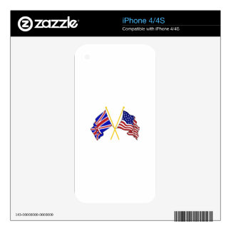 GREAT BRITAIN AND AMERICAN FLAGS SKIN FOR THE iPhone 4S