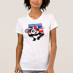 Women's American Apparel Fine Jersey Short Sleeve T-Shirt with Great Britain Badminton Panda design