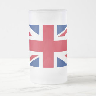 Great Britain Flag Frosted Glass Beer Mug