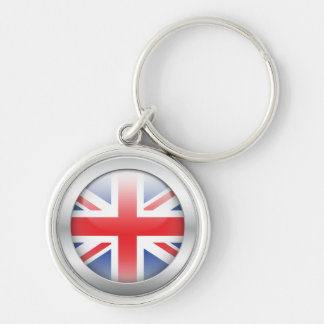 Great Britain Flag in Orb Silver-Colored Round Keychain