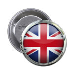 Great Britain Flag Round Glass Ball Pinback Button