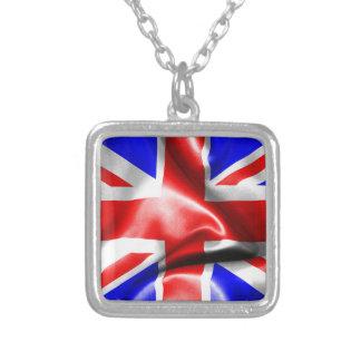 Great Britain Flag Square Pendant Necklace