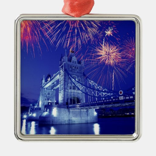 Great Britain, London. Fireworks over the Tower Square Metal Christmas Ornament