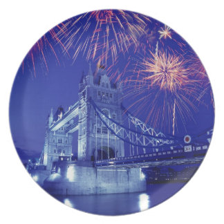 Great Britain, London. Fireworks over the Tower Plate