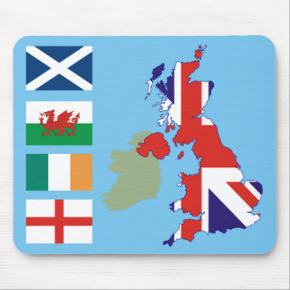 Great Britain Map and Flags Mouse Pad