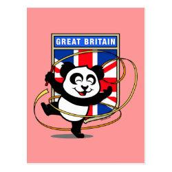 Postcard with Great Britain Rhythmic Gymnastics Panda design