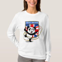 Women's Basic Long Sleeve T-Shirt with Great Britain Rhythmic Gymnastics Panda design