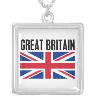 Great Britain Square Pendant Necklace