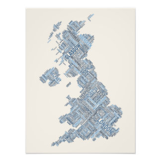 Great Britain UK City Text Map Photo Art