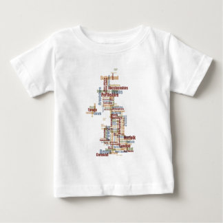 Great Britain UK County Text Map T-shirt