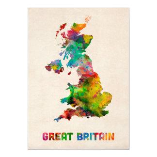 Great Britain Watercolor Map Card