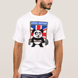 Men's Basic T-Shirt with Great Britain Weightlifting Panda design