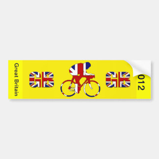 Great Britain Yellow Jersey British flag Cycling Bumper Sticker