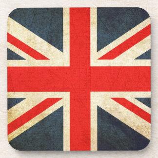 Great Britian Flag in Grunge Beverage Coasters