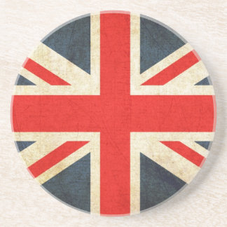 Great Britian Flag in Grunge Drink Coaster