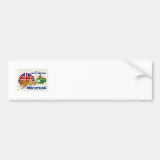 Great British Christmas Santa Reindeer Doube Decke Bumper Sticker