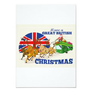 Great British Christmas Santa Reindeer Doube Decke Card