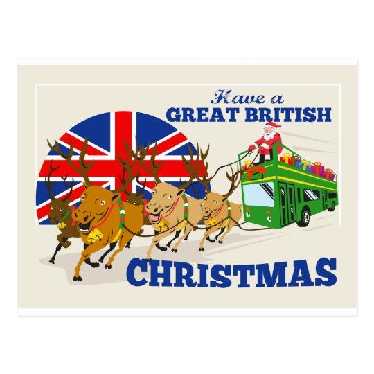 Great British Christmas Santa Reindeer Doube Decke Postcard