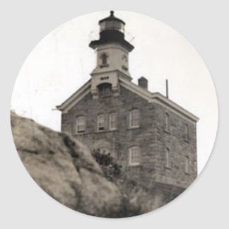 Great Captain Island Lighthouse Classic Round Sticker