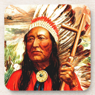 """""""Great Chief"""" Indian warrior leader & peace pipe Drink Coaster"""