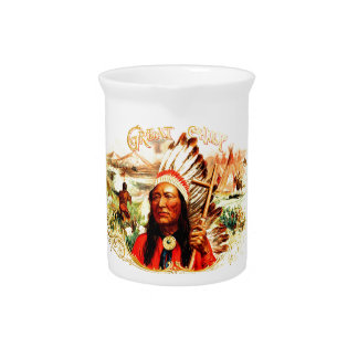 """Great Chief"" Indian warrior leader & peace pipe Drink Pitcher"