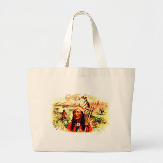 """""""Great Chief"""" Indian warrior leader & peace pipe Large Tote Bag"""