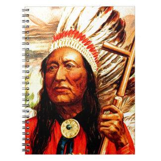 """""""Great Chief"""" Indian warrior leader & peace pipe Spiral Note Books"""