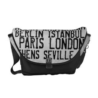 Great Cities of Europe Urban  Black & White Messenger Bag