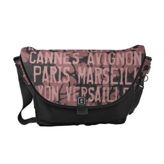 Great Cities of France Urban Grunge Pink & Black Courier Bag