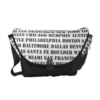 Great Cities of the US in Black & White Messenger Bag