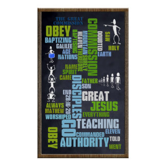 Great Commission Mathew 28 Chalkboard Poster