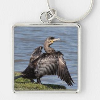 Great Cormorant Silver-Colored Square Keychain