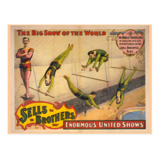 Great Costellos Trapeze Show Circus Poster Postcard