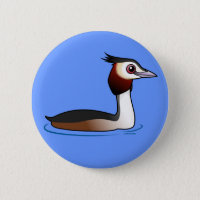 Great Crested Grebe Round Button