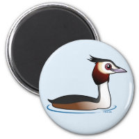 Great Crested Grebe Round Magnet